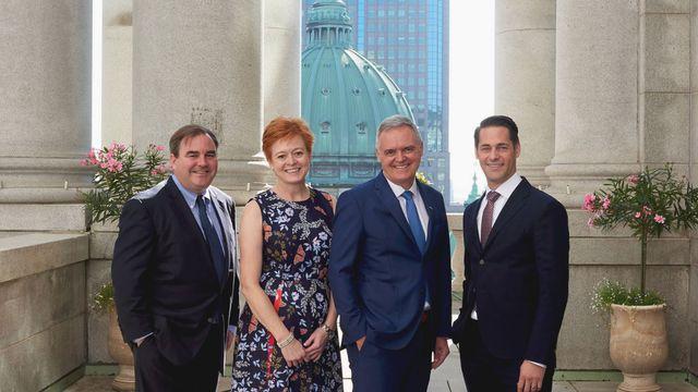 Direction de NATIONAL photo de groupe de gauche à droite Andrew Molson, Valérie Beauregard, Jean-Pierre Vasseur and Royal Poulin
